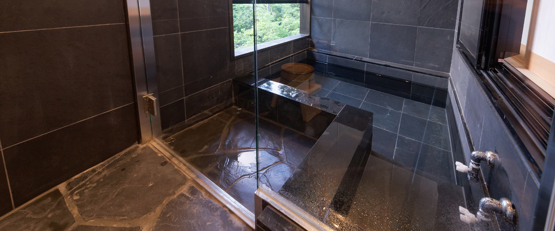 Japanese twin style room with private open-air bath